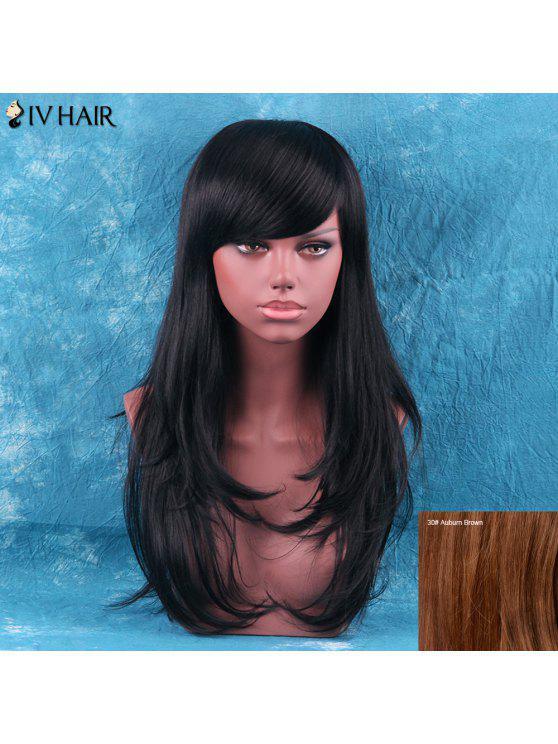 Siv Cabello largo explosión lateral Fluffy en capas de cola Aducción peluca de cabello humano - Auburn Brown #30