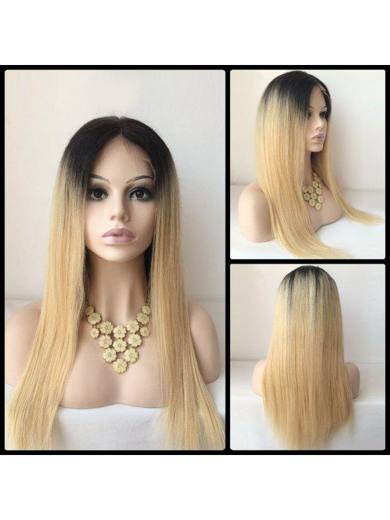 Parte Médio longa peruca dianteira do laço Cabelo Liso Humano - Cor Mistura