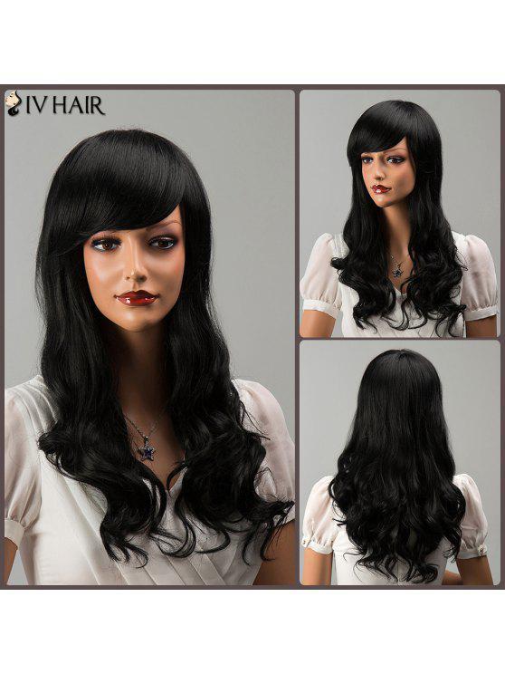 Lanudo largo explosión lateral ondulada Siv peluca de cabello humano - NEGRO AZABACHE 01#