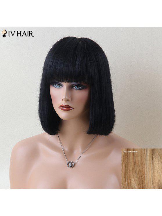 Siv pelo corto fascinante completo recto bang peluca de cabello humano - Rubia