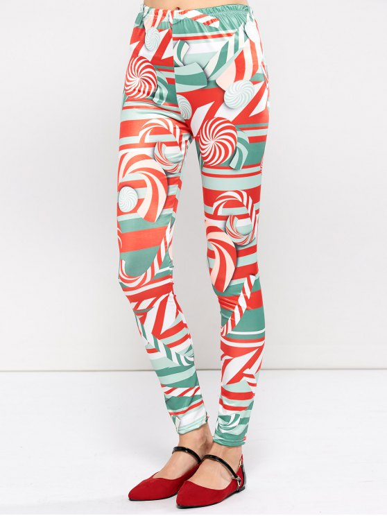 fancy Christmas Lollipops Print Tight Leggings - RED L
