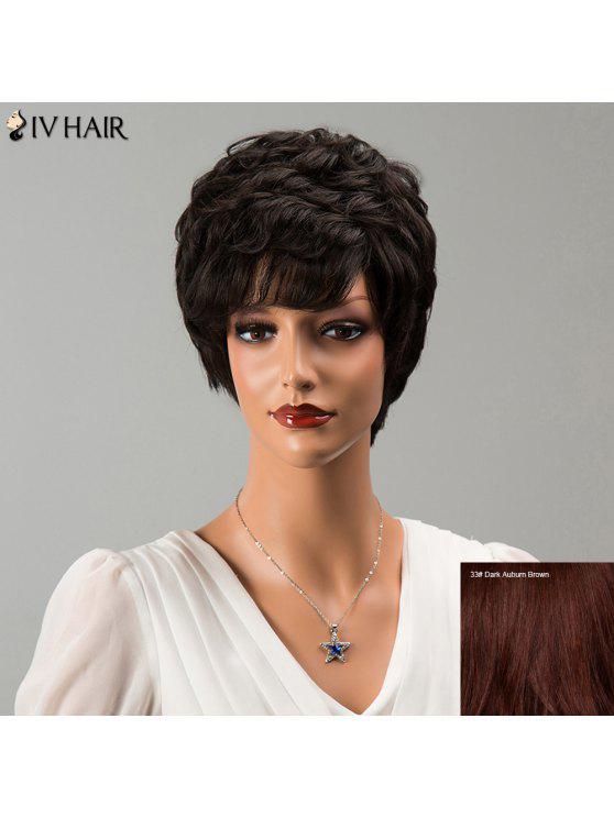 Parrucca capelli umani Siv Capelli corti Bang laterale Fluffy ondulate - Scuro Auburn Bruno