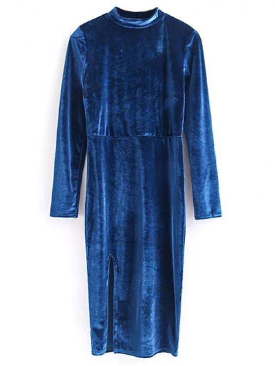 Weinlese-Samt-Schlitz-Kleid - Blau M