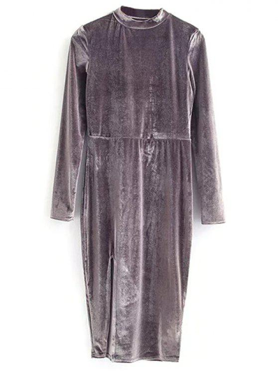 outfit Vintage Velvet Slit Dress - GRAY S