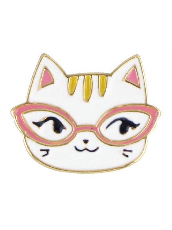 hot Adorn Kitten Brooch - WHITE
