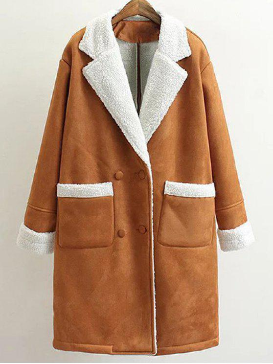 latest Lapel Faux Shearling Pea Coat - BROWN L