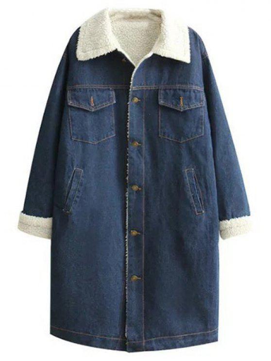 unique Turndown Collar Faux Shearling Jean Coat - DENIM BLUE S