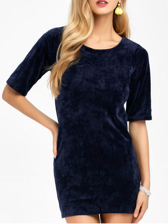 outfit Round Neck Velvet Bodycon Mini Dress - DEEP BLUE S