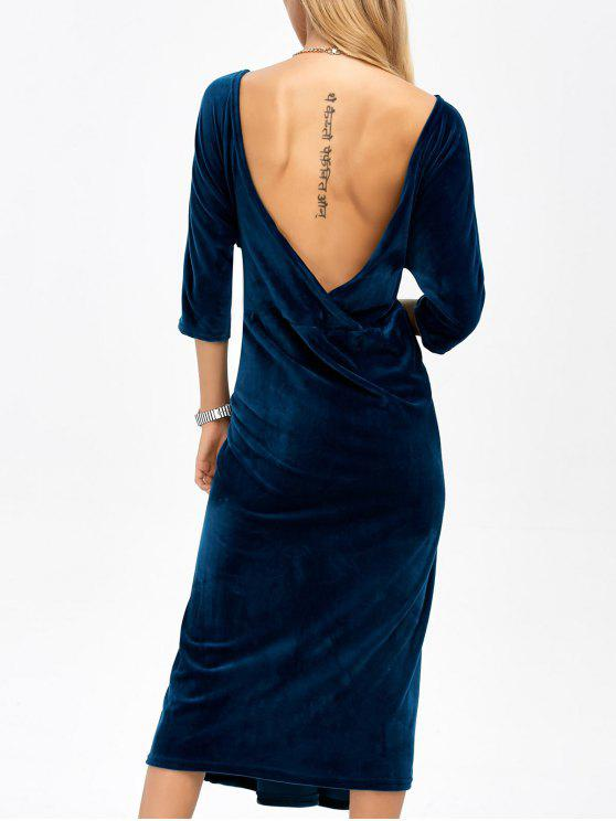 trendy Open Back Velvet Tea Length Dress - DEEP BLUE ONE SIZE
