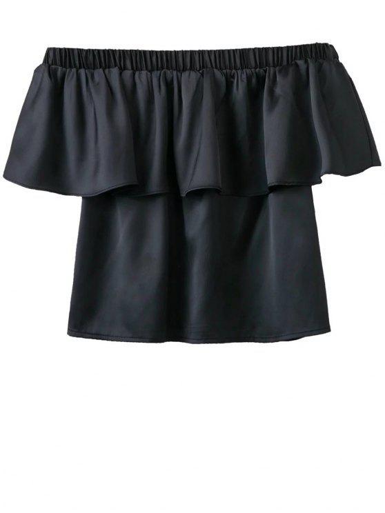 women Off The Shoulder Flouncing Blouse - BLACK S