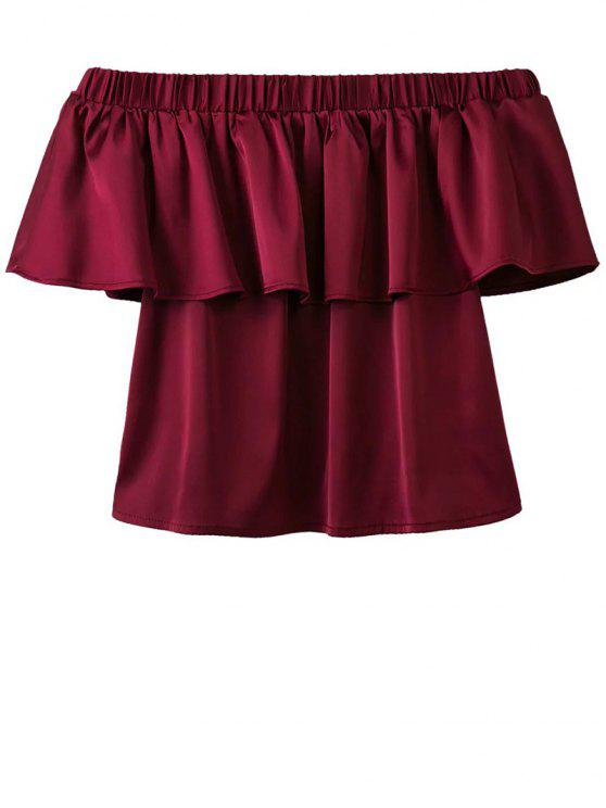 ladies Off The Shoulder Flouncing Blouse - WINE RED L
