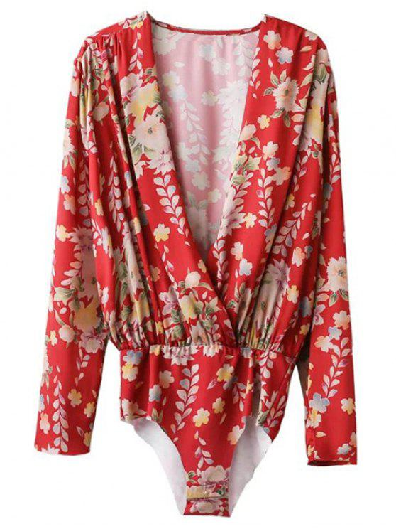 shops Ethnic Style Floral Bodysuit - RED L