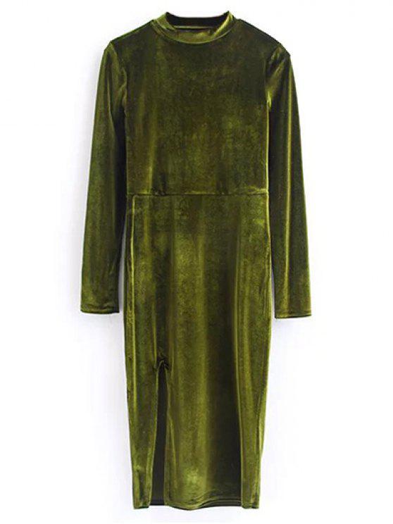 Weinlese-Samt-Schlitz-Kleid - Olivgrün S
