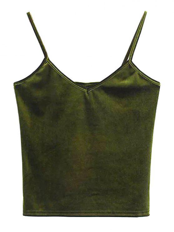 best Velvet Cropped Tank Top - OLIVE GREEN ONE SIZE