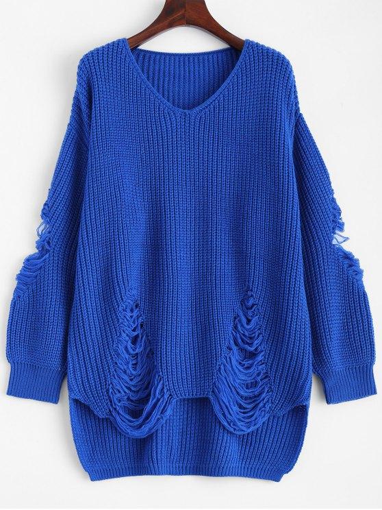 ladies Loose Pullover Distressed  Sweater - BLUE M