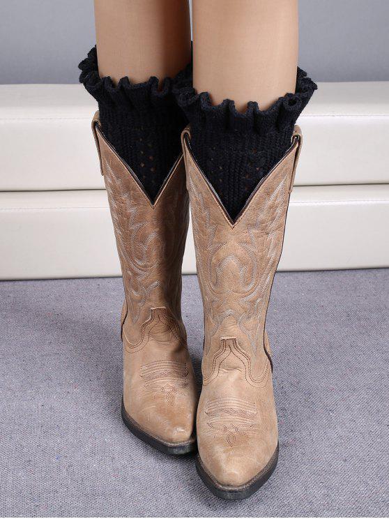 chic Ruffled Knit Boot Cuffs - BLACK