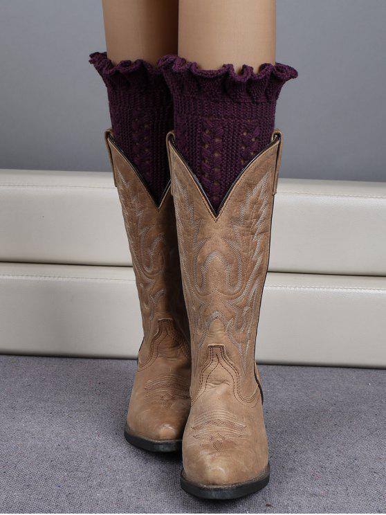 women Ruffled Knit Boot Cuffs - DEEP PURPLE