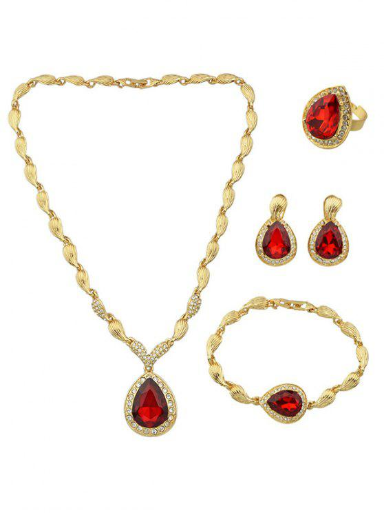 Faux Ruby Necklace Earrings Bracelet And Ring Red