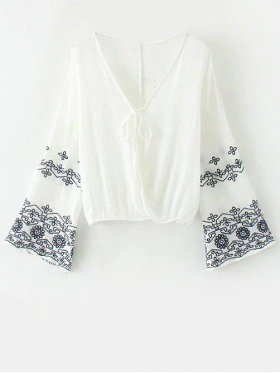outfit String Flare Sleeve Embroidered Blouse - WHITE L