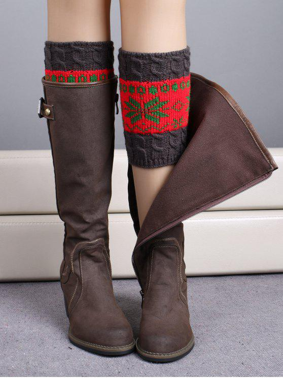 ladies Christmas Snowflake Boot Cuffs - RED