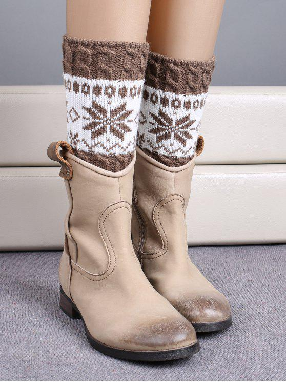 lady Christmas Snowflake Boot Cuffs - KHAKI