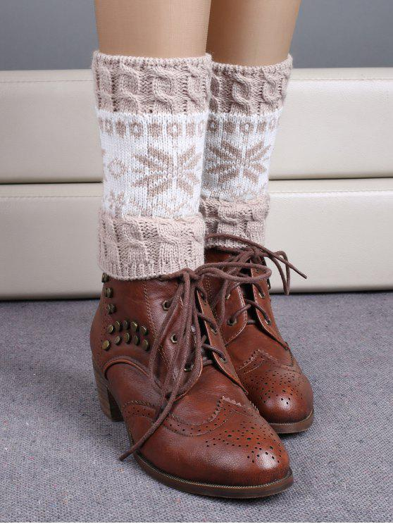 hot Christmas Snowflake Boot Cuffs - BEIGE