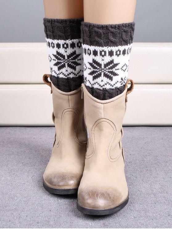 Chaussettes bottes àà motif de flocon de neige à style de Noël - Gris Foncé