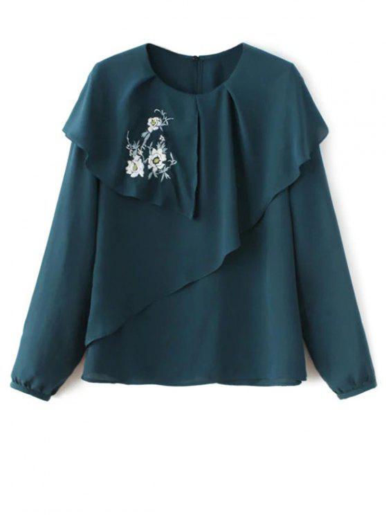 Capas de la blusa de la gasa floral - Verde negruzco L