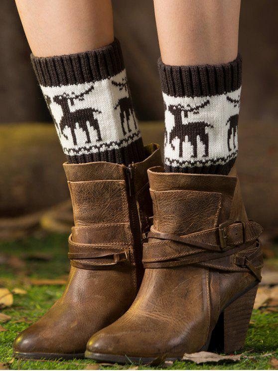 latest Christmas Deer Boot Cuffs - DEEP GRAY