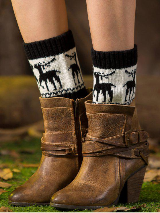 trendy Christmas Deer Boot Cuffs - BLACK