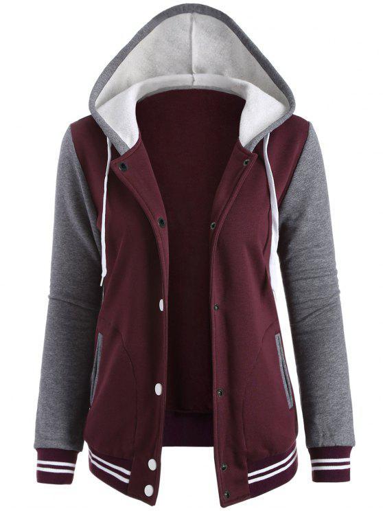 womens Varsity Baseball Fleece Hoodie Jacket - WINE RED XS