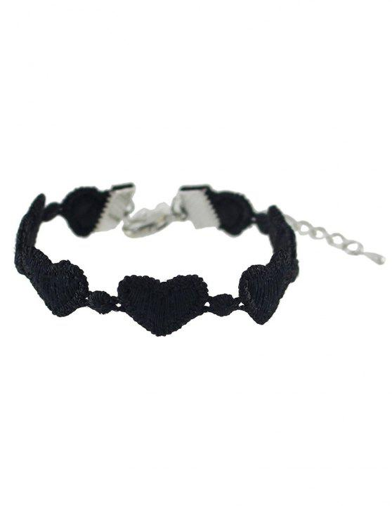 shops Heart Lace Chain Bracelet - BLACK