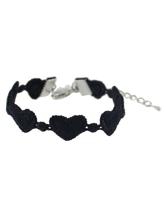 shops Heart Lace Chain Bracelet - BLACK