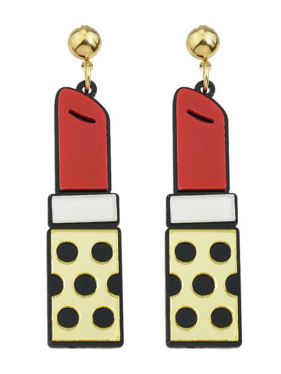 chic Lipstick Drop Earrings - GOLDEN