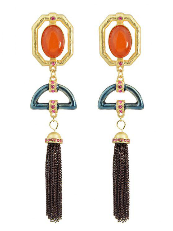 unique Artificial Gemstone Oval Tassel Chain Earrings - GOLDEN