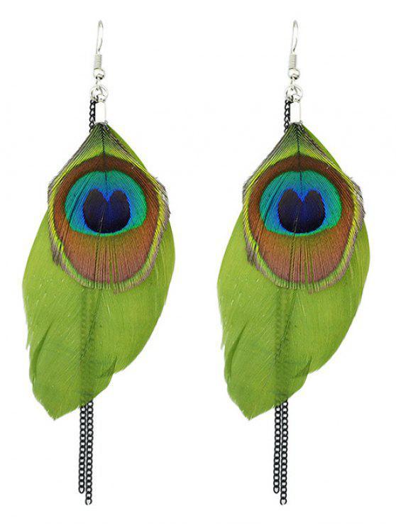Estilo bohemio pendientes de la pluma del pavo real - Verde