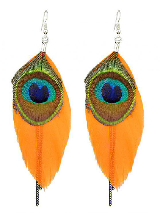 womens Bohemian Style Peacock Feather Earrings - ORANGE