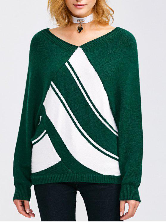 Raglan del manicotto di colore a blocchi V maglione del collo - Verde Nerastro XL