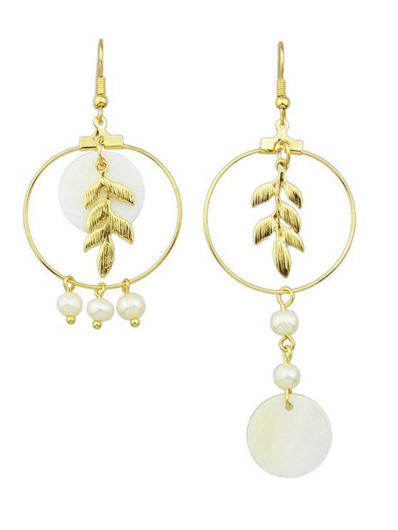 Pendientes de la hoja de la perla de imitación asimétrica - Dorado
