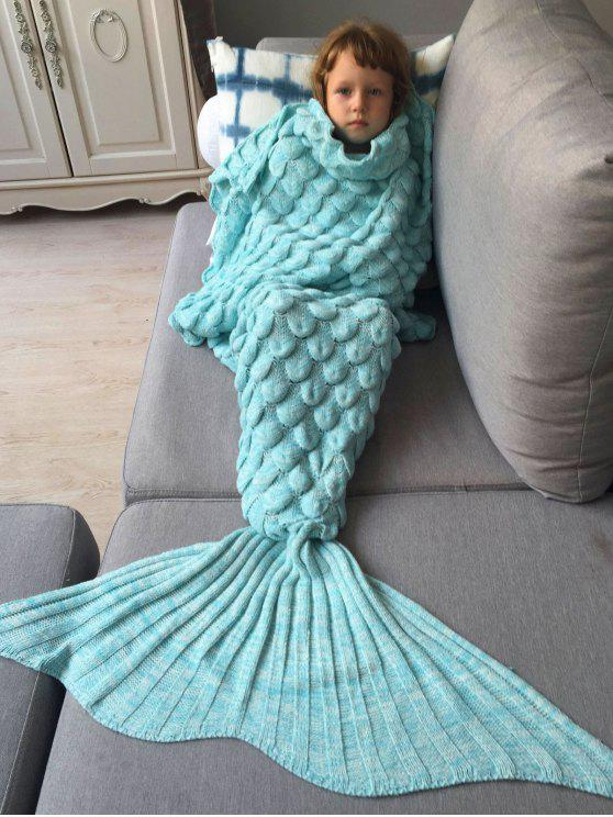 online Knitted Mermaid Blanket for Kids - AZURE
