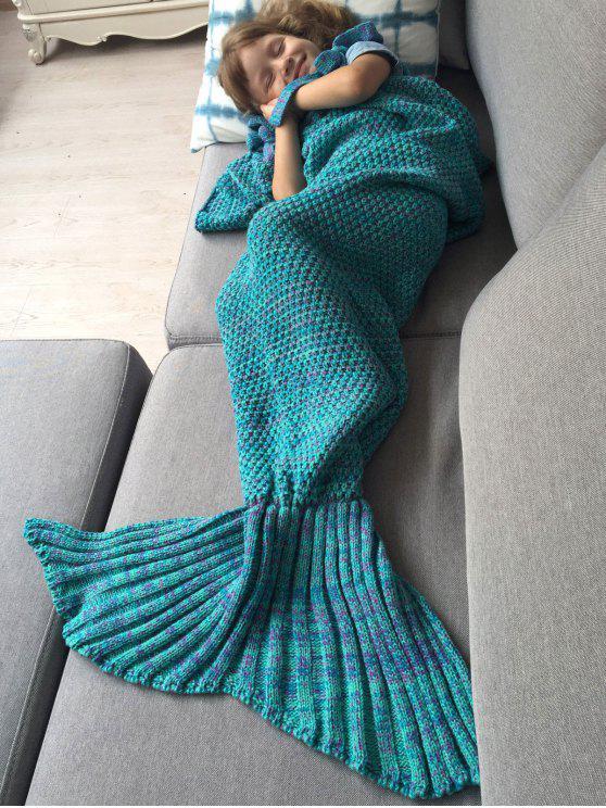 Couverture tricotée en forme de sirène et sac de couchage - Turquoise
