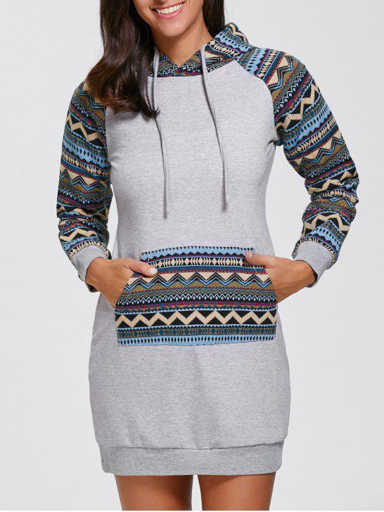 هندسي هوديي البسيطة فستان طويل الأكمام - رمادي S
