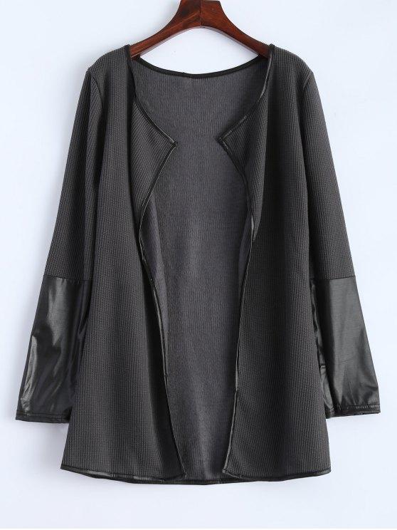 Cardigan à manches longues avec décoration en cuir fausse - gris foncé XL