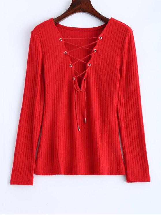 Maglione a Costine di Lace Up - Rosso XL