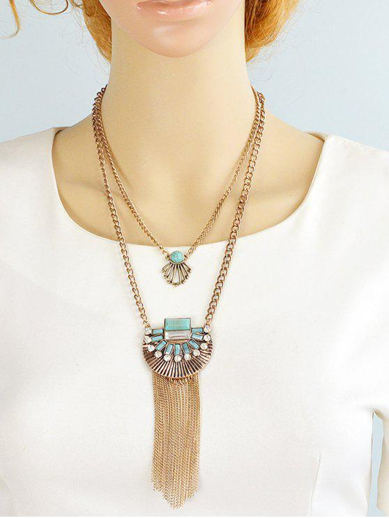 chic Artificial Turquoise Rhinestone Geometric Layered Necklace - GOLDEN
