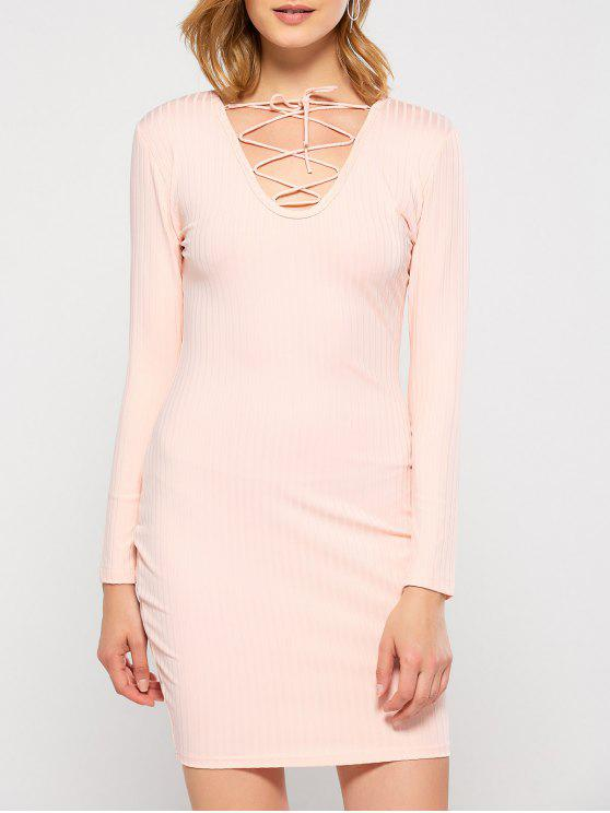 outfit Lace Up Plunging Neck Bodycon Party Dress - PINK M