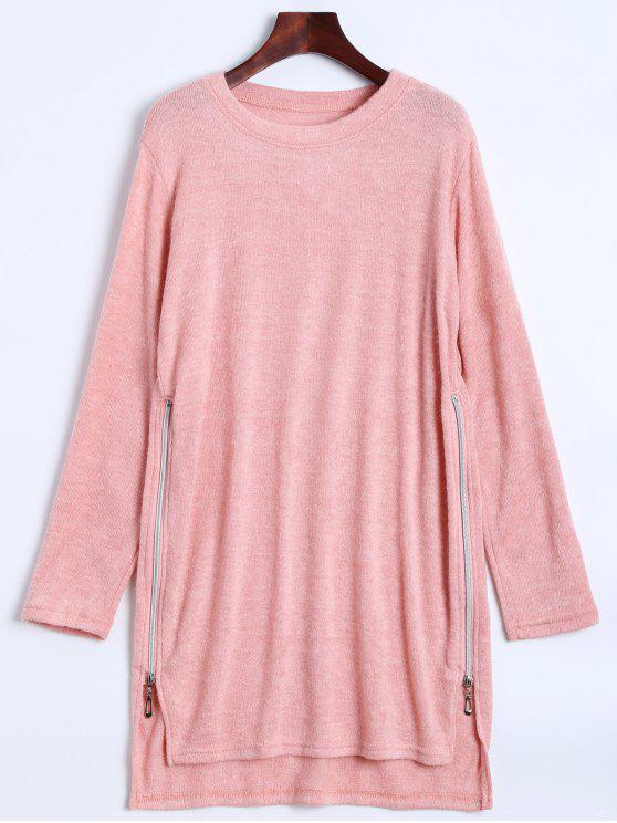 sale Side Zipper Sweater Dress - PINK S