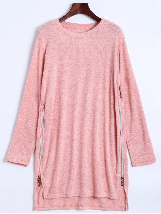 unique Side Zipper Sweater Dress - PINK M