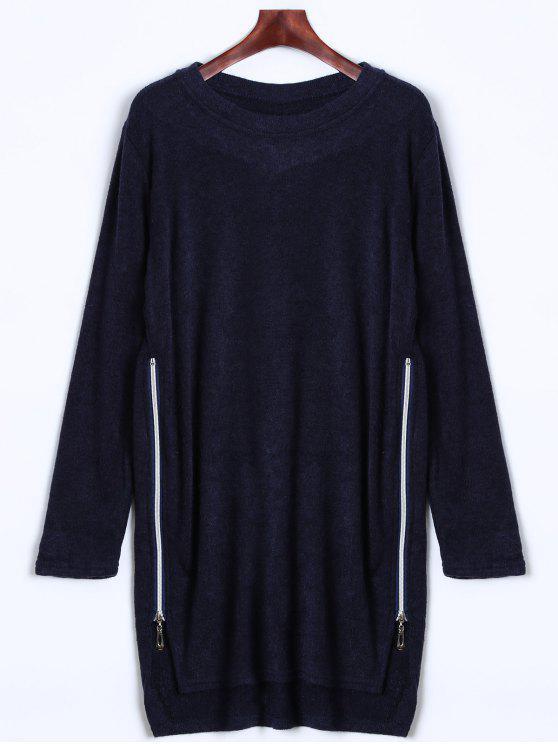 Robe en tricot zippée au côté - Bleu Cadette S