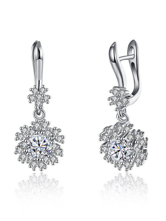 buy S925 Diamond Snowflake Drop Earrings - SILVER